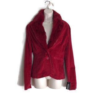 Wilson's Leather 100% Cotton Blazer w Rabbit Fur